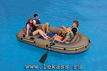 intex 68324  - Надувная лодка Excursion-4 Set (насос + весла) 315х165х43см