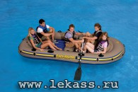 intex 68325 - Надувная лодка Excursion-5 Set (насос + весла) 366х168х43см